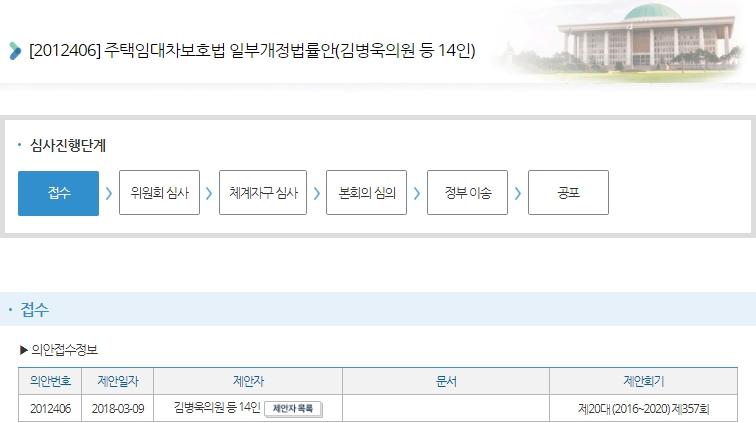 김병욱 의원이 대표발의한 주택임대차보호법 일부개정법률안